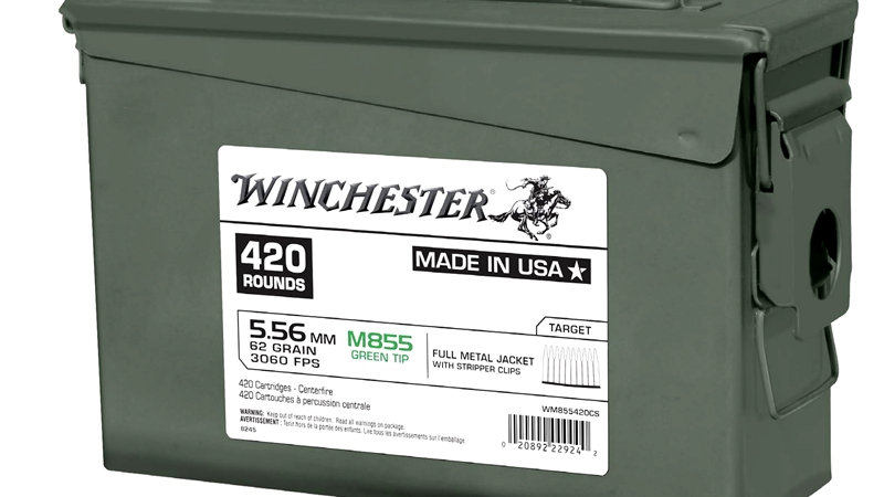 Winchester M855 62gr Grn tip Stripper Clips 420rnd Ammo Can