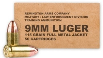 REMINGTON MILITARY/LAW ENFORCEMENT  9MM LUGER  115 GR FMJ