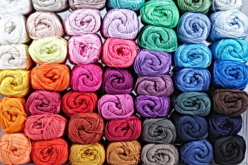 A stack of multiple colour of yarn