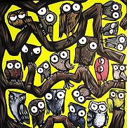 Yellow owl tree Acrylic on canvas