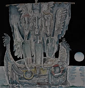 ANGEL BOAT JOURNEY Watercolour & ink