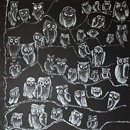 NIGHT OWLS II Acrylic on canvas
