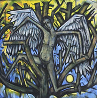 TREE ANGEL Acrylic and sand on canvas