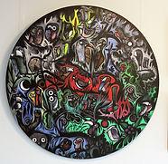 IMAGINARY BIRDS WITH BUDGIE Acrylic on canvas