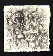 ADAM & EVE EMBRACE III Ink drawing
