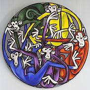 MONKEY TONDO Acrylic on canvas