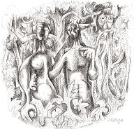 ADAM & EVE IN THE GARDEN Ink drawing