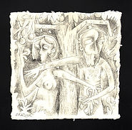 ADAM & EVE AND FIG LEAF Ink drawing
