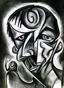 HEAD WITH SNAIL CHARCOAL ON PAPER.jpg
