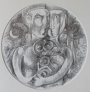 ADAM & EVE & THE SCREECH OWL II Ink draw