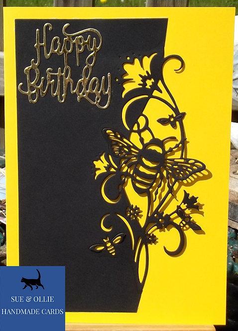 Black & Yellow Bumblebee Birthday Card