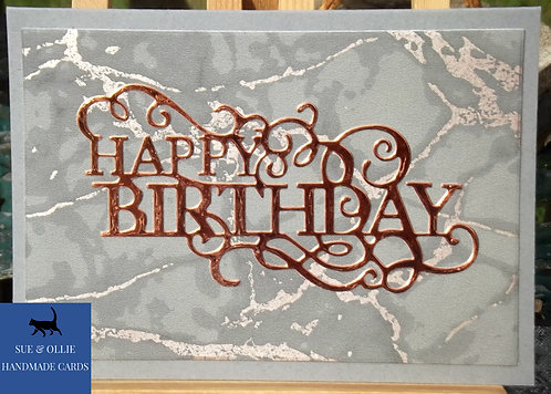 Grey/Copper Marble Male Birthday Card