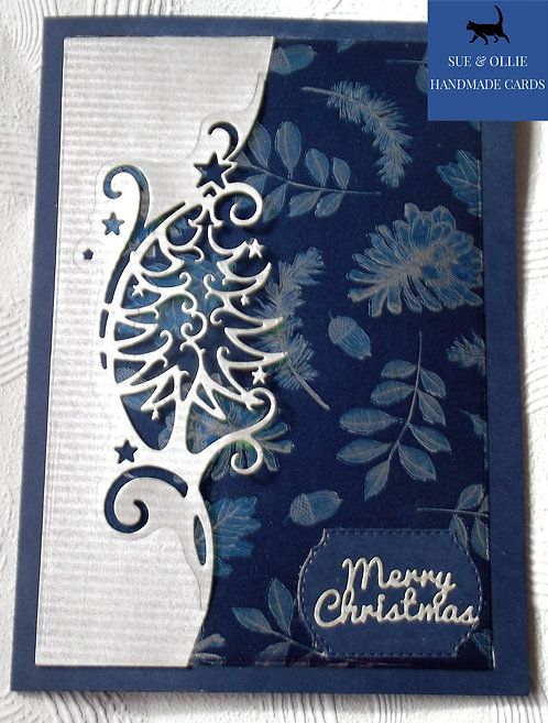 Navy Silver Christmas Tree Card