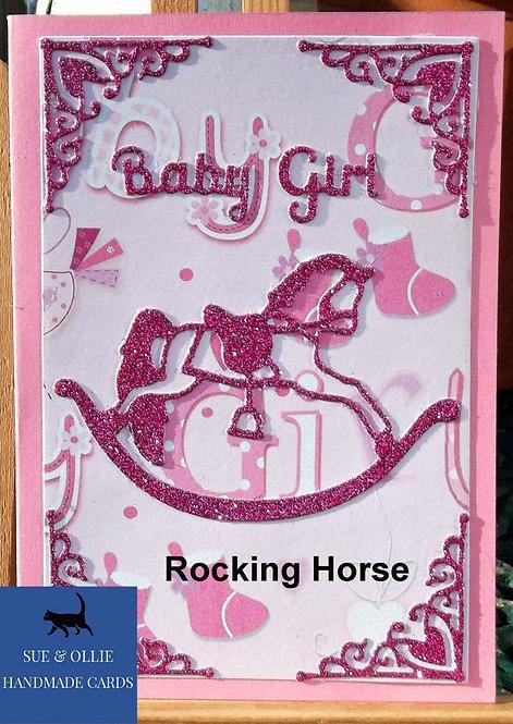 Pink Rocking Horse Baby Girl Card