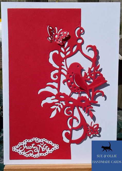 Red & White Bird Blank/Note Card