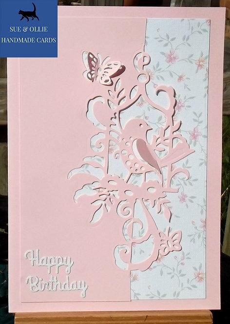 Pink & White Bird Birthday Card