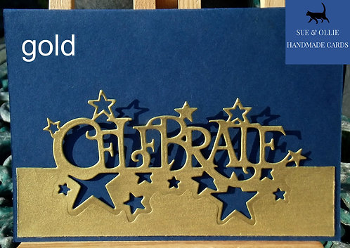 "Navy Gold & Silver ""Celebrate"" Birthday Card"