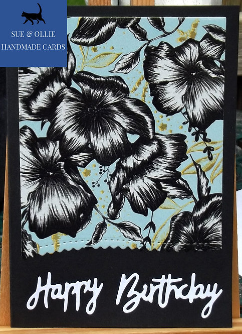 Black Flowers Happy Birthday Card