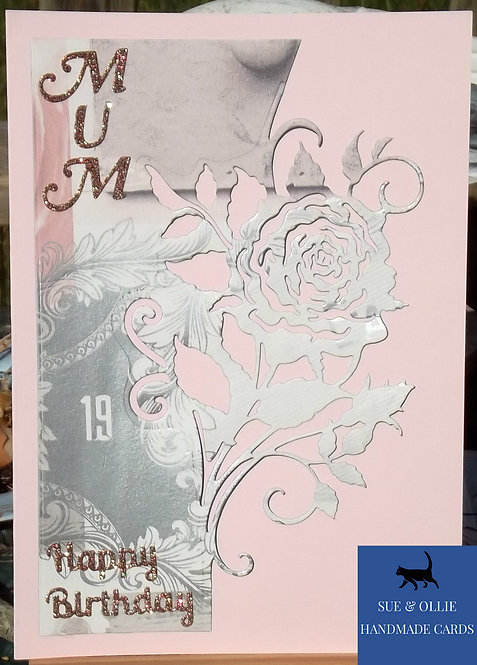 Pink Rose Mum Birthday Card
