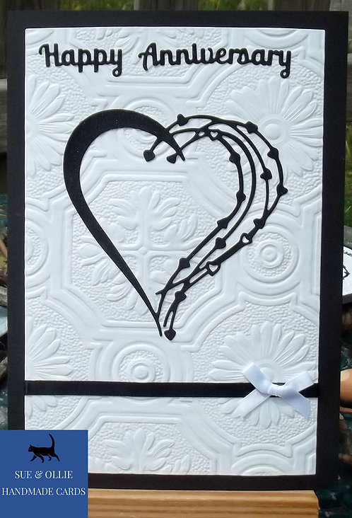 Black & White Heart Anniversary Card