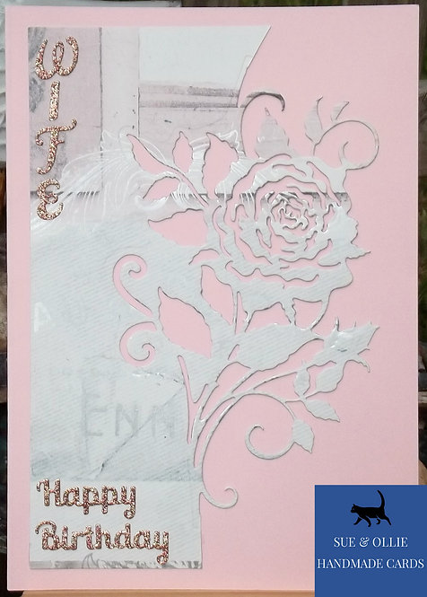 Pink Rose Wife Birthday Card