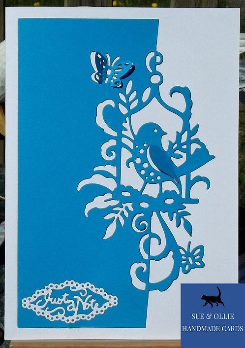 Blue & White Bird Blank/Note Card