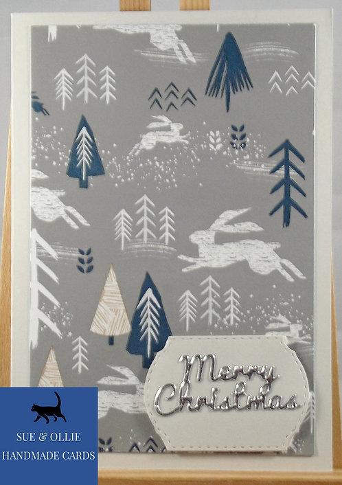 "Grey ""Scandinavian"" Merry Christmas Card"