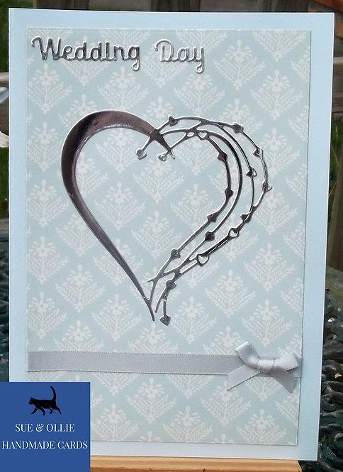 Blue Wedding Day Silver Heart Card