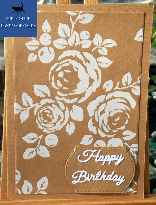 Brown White Flowers Happy Birthday Card