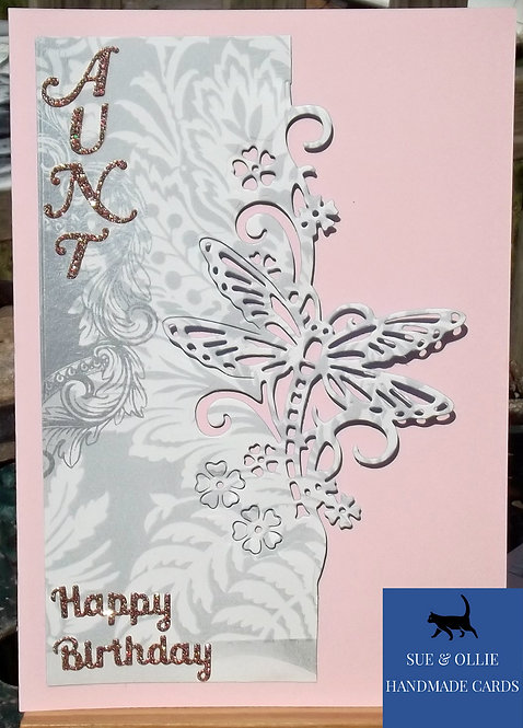 Pink Dragonfly Aunt Birthday Card