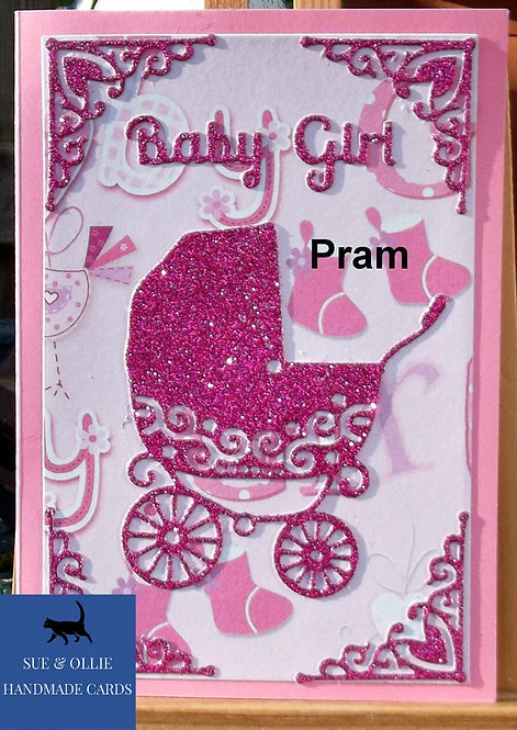 Pink Pram Baby Girl Card