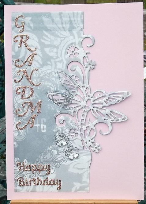 Pink Dragonfly Grandma Birthday Card