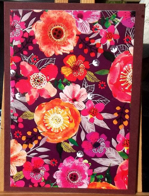 Pack of 5 Maroon/Flowers Blank/Note Card Pack