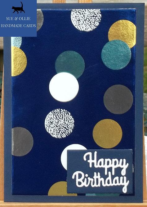 Navy Dots/Circles Birthday Card