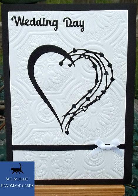 Black & White Heart Wedding Day Card