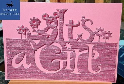 Pink It's a Girl Baby Card