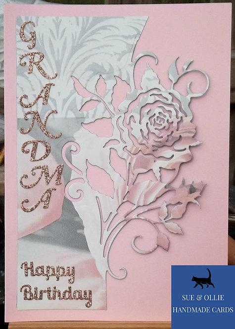 Pink Rose Grandma Birthday Card