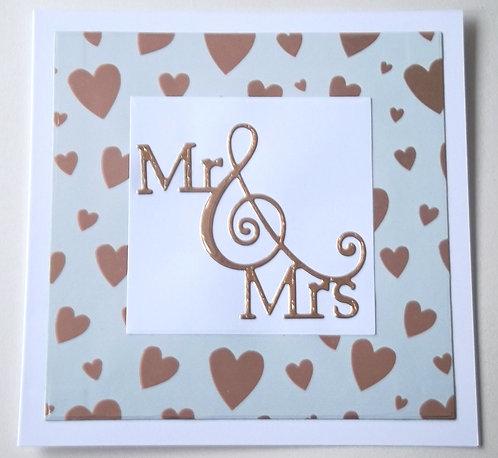 "White & Copper ""Mr & Mrs"" Wedding Card"