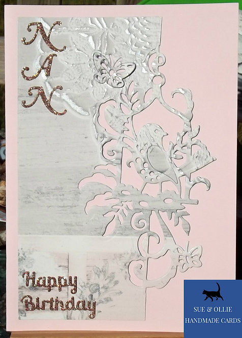 Pink Bird Nan Birthday Card