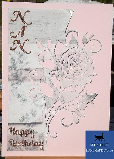 Pink Rose Nan Birthday Card