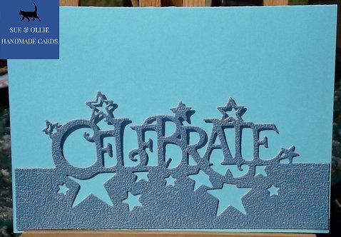 Blue Celebrate Male Birthday Card