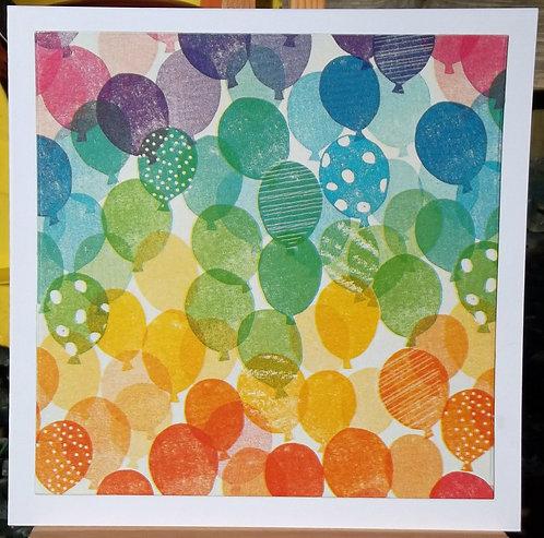 White & Rainbow Balloons Birthday Card