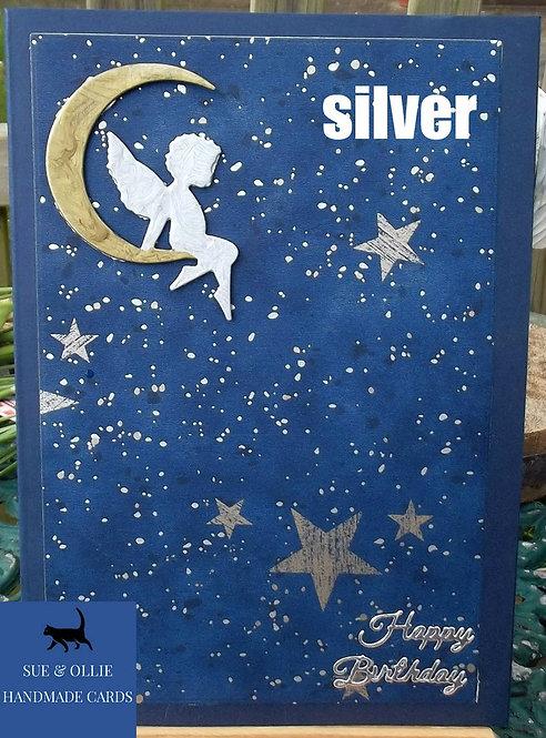 Navy Chrerub/Angel on the Moon Birthday Card