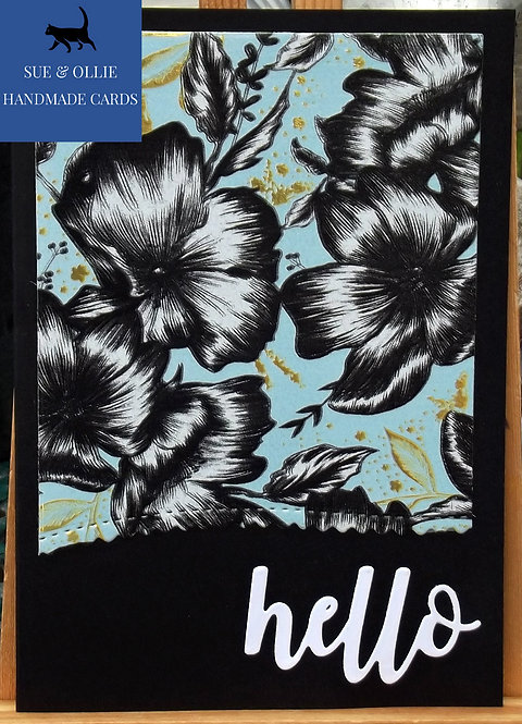 "Black Flowers Blank/Note ""Hello"" Card"