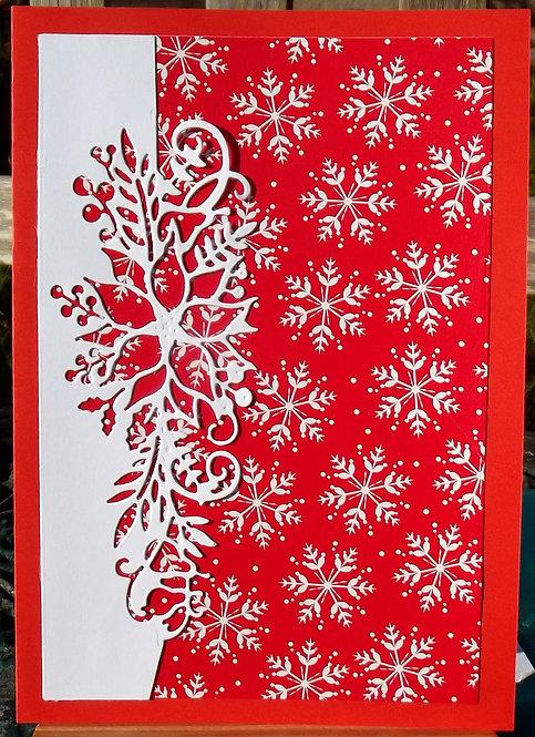 Red & White Poinsettia Snowflakes Christmas Card