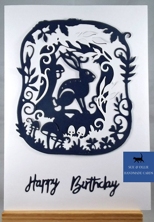 White & Navy Woodland Hare Birthday Card