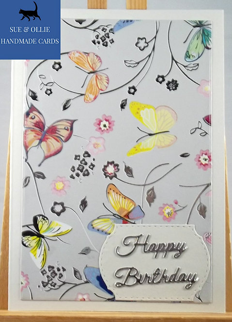 Grey Butterflies Birthday Card