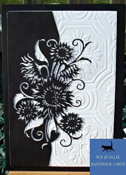 Black & White Sunflowers Blank/Note Card
