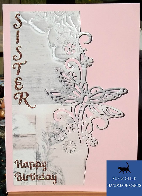 Pink Sister Dragonfly Birthday Card