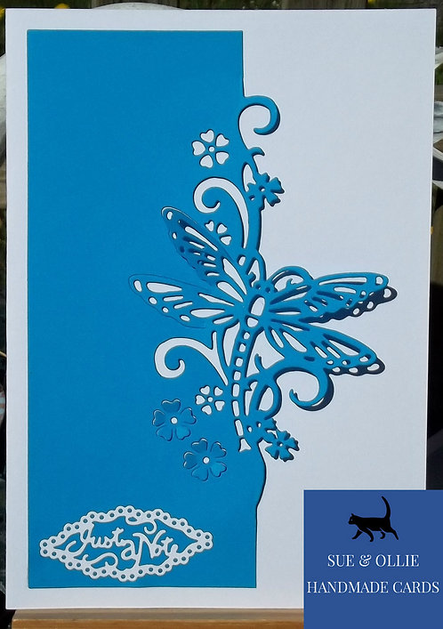 Blue & White Dragonfly Blank/Note Card